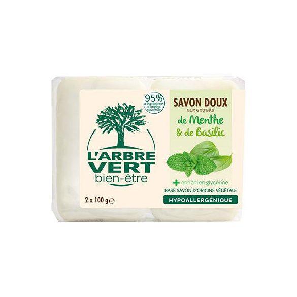 L'Arbre Vert Hidratáló szappan menta és bazsalikom kivonattal, 2x100g