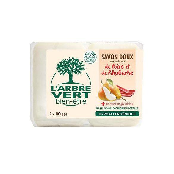 L'Arbre Vert Hidratáló szappan körte és rebarbara kivonattal, 2x100g