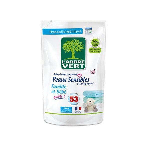 L'Arbre Vert Textilöblítő utántöltő érzékeny bőrre - Családbarát,  800ml