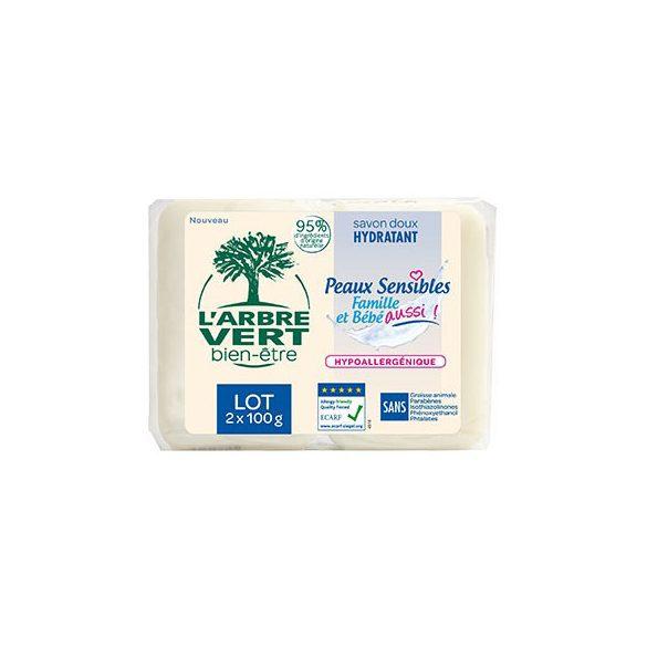 L'Arbre Vert Hidratáló szappan érzékeny bőrre - Családbarát, 2x100g