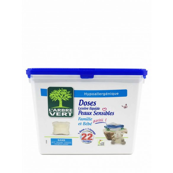 L'Arbre Vert Folyékony mosószer kapszula érzékeny bőrre - Családbarát, 22db