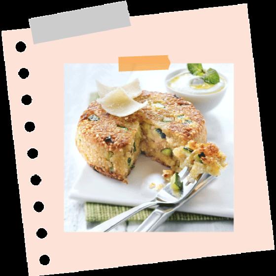 Quinoa lepények cukkinival és parmezánnal
