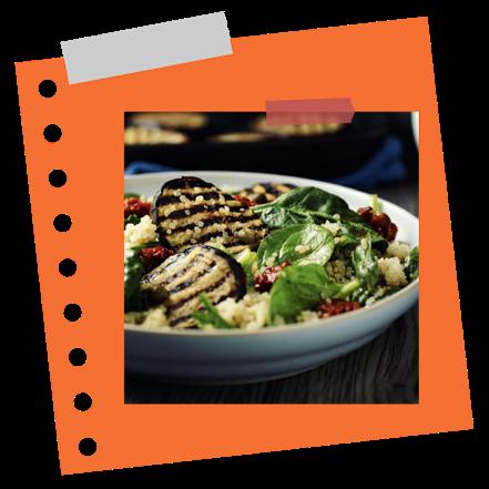 Quinoás, grillezett padlizsános saláta
