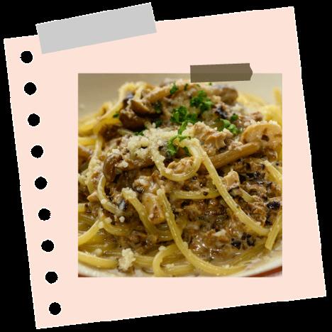 Spaghetti diós pesztóval